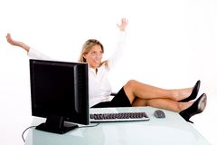 Front View Of Smiling Businesswoman In Office Royalty Free Stock Image