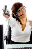 Front View Of Telecaller Showing Receiver Royalty Free Stock Images