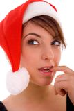 Front View Of Thinking Woman In Christmas Hat Royalty Free Stock Photos