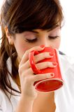 Front View Of Woman Drinking Coffee Royalty Free Stock Photography