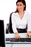 Front View Of Woman Working On Computer Royalty Free Stock Image