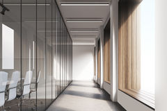 Front view of office corridor, glass Royalty Free Stock Photography