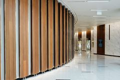 Front view of a office elevator with closed doors in lobby.  Royalty Free Stock Photography