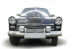 Front view of an old black car Royalty Free Stock Photos
