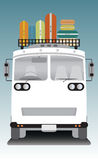 Front view of old bus and bag on roof Royalty Free Stock Photo