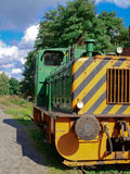 Front View of old diesel locomotive. In the late summer Stock Photo
