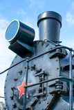 Front view of an old-fashioned steam locomotive. royalty free stock photos