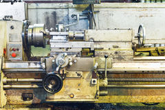 Front view of old metal lathe machine Stock Image