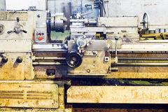 Front view of old metalworking lathe machine Royalty Free Stock Image
