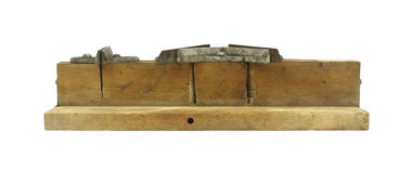 Front view of an old miter box for carpentry Stock Image