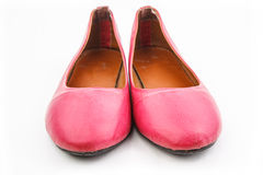Front view of an old pair of pink casual shoe Stock Image