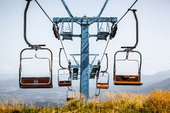 Front view of old ski elevator in summer stock images