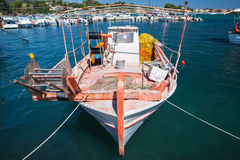Front view of old wooden fishing boat Stock Images