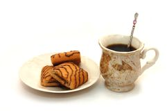 The front view oncup coffee and plate with cookies Royalty Free Stock Photography