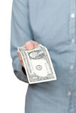 Front view of one dollar banknote in arm Stock Photo