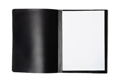 Front view of open file folder with blank paper sheets Stock Photo