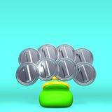 Front View Of Opened Purse com as 8 moedas no espaço do texto Imagens de Stock Royalty Free