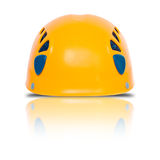 Front view of orange climbing helmet Royalty Free Stock Photography