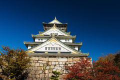 Front view of Osaka Castle at autumn Stock Image