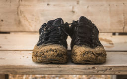 Front view of pair old black sneakers Stock Images