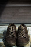Front view from pair of old boots. ! royalty free stock photo