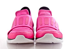 Front view of a pair of pink lady sport shoes Royalty Free Stock Photography