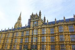 Front view of Palace of Westminster, British House of Parliament building in Westminster, London. During a cloudy day Stock Photos