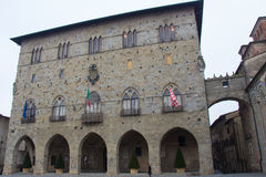 Front view of Palazzo del Comune. City Hall. Municipal Museum of Pistoia. Tuscany. Italy. Italy, Pistoia - November 27 2016: the view of Palazzo del Comune Royalty Free Stock Images