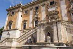 Front view of the Palazzo Senatorio and Fontana della Dea Roma in the Piazza del Campidoglio on top of the Capitoline Hill in Rome Royalty Free Stock Image