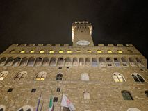 Front view of Palazzo Vecchio at night, Florence, Tuscany, Italy royalty free stock photos