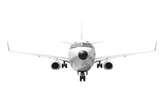 Front view Passenger aircraft isolated on white background with Royalty Free Stock Images