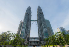 Front view of Petronas Twin towers Stock Photo