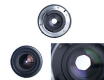 Front view of photo lens isolated on white Royalty Free Stock Image