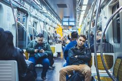 Brazilian people on the train royalty free stock image