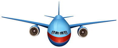 A front view of a plane. Illustration of a front view of a plane on a white background Royalty Free Stock Images