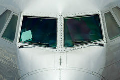 Front view of a plane's fuselage. Il-96 cockipt Royalty Free Stock Photos