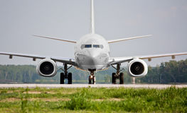 Front view of plane before takeoff Royalty Free Stock Photography