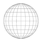 Front view of planet Earth globe grid of meridians and parallels, or latitude and longitude. 3D vector illustration.  Royalty Free Stock Photos