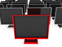Front view of plasma televisions Royalty Free Stock Image