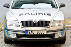 Front view of the police car in Prague city Stock Photos