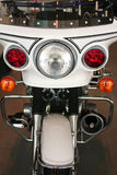 Front view of a police motorcycle. Front view of a shiny, white police motorcycle Stock Images