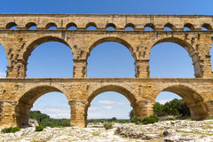 Front view of the Pont du Gard Royalty Free Stock Photo