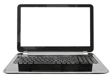 Front view of portable computer with cut out screen. Isolated on white background Stock Image