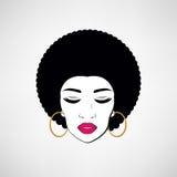 Front view portrait of a black woman face. Disco girl. Vector retro style Stock Photos
