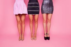 Front view portrait of three beautiful bahelorette in dress showing their smooth, slim, flat legs on pink background. Cropped close up photo of cute lovely royalty free stock photos