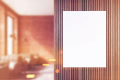 Front view of poster in cafe, blurred Royalty Free Stock Photo