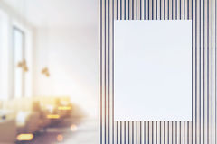 Front view of poster in coffee shop, blurred. Front view of a poster in a coffee shop interior with beige leather sofas and large windows. 3d rendering. Mock up Stock Images