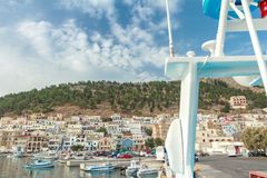 Front view of Pothia bay on Greek Dodecanese Stock Image