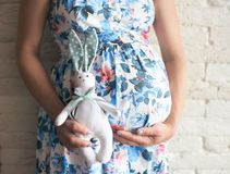 Pregnant lady kepping cute and anticipating little boy stock images