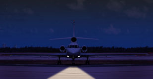 Front view of a private jet on the runway Stock Photography